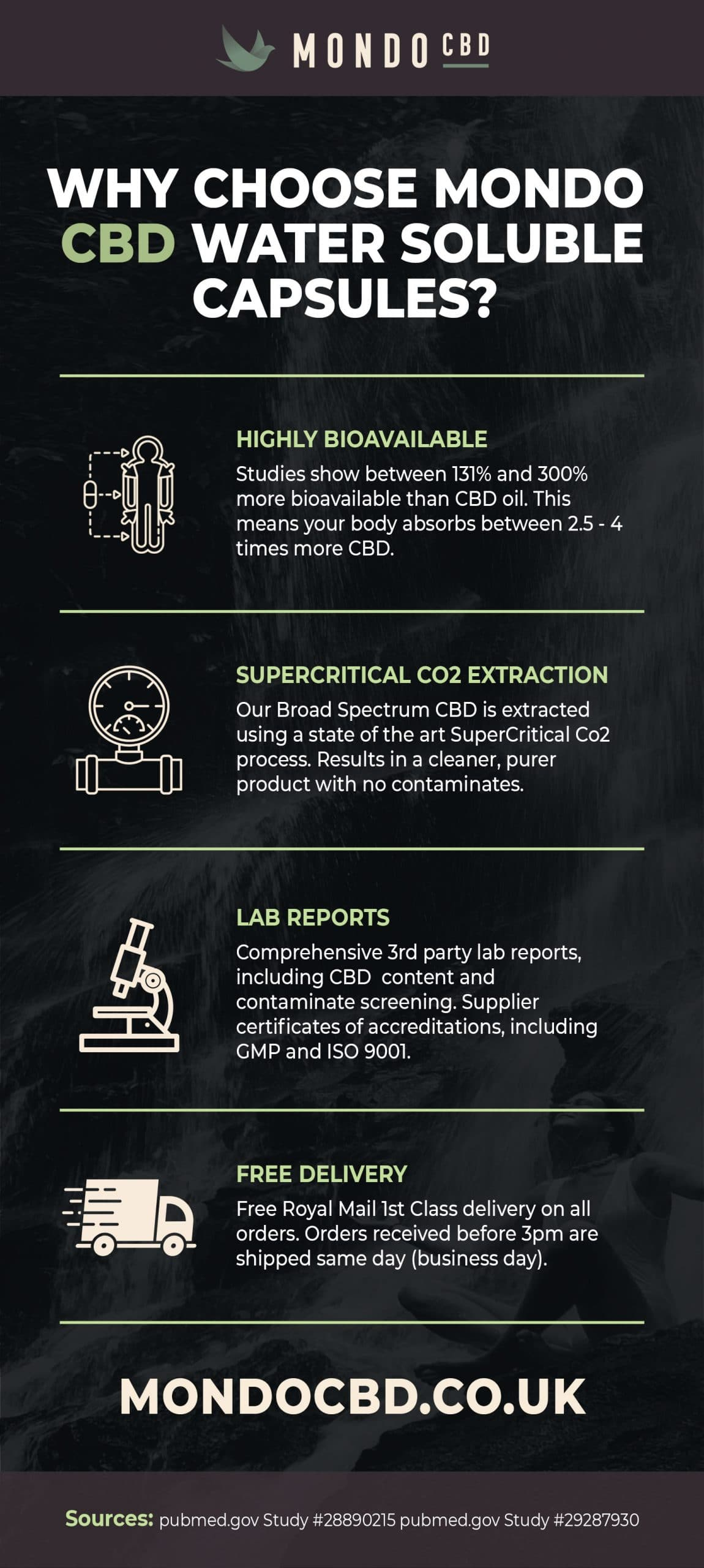 Why Choose Mondo Water Soluble CBD infographic